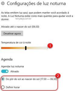 Como ativar luz noturna do Windows 10