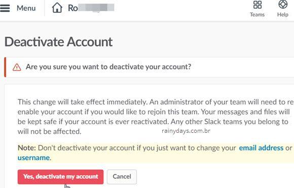como excluir conta do Slack