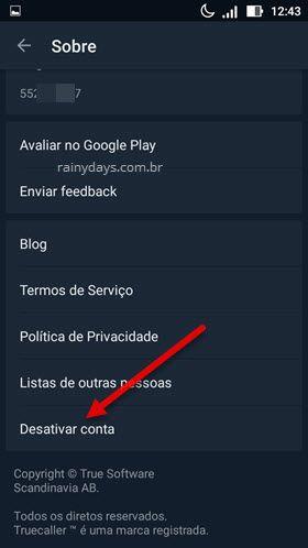 desativar conta app Truecaller Android