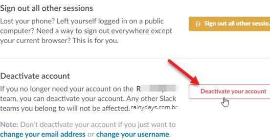 desativar conta do Slack sair de team