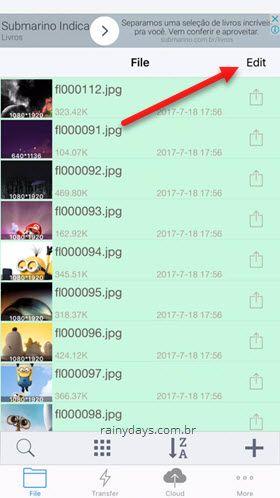 editar fotos para criar zip iPhone