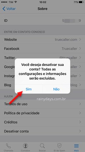 excluir conta do app truecaller iPhone