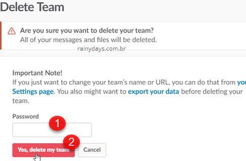 excluir Team Equipe do Slack permanentemente