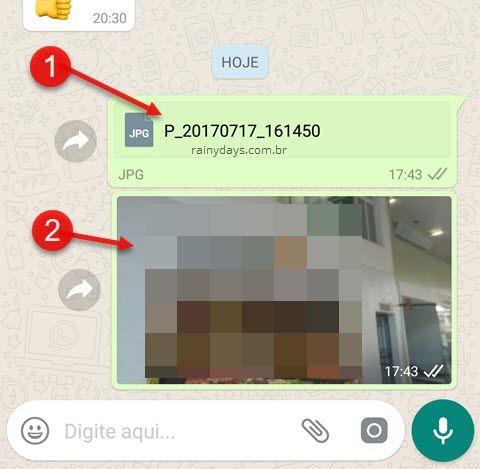 foto enviada como Documento no WhatsApp qualidade original