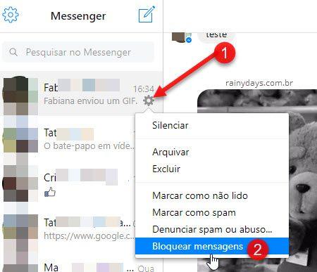 ícone da engrenagem Messenger.com bloquear mensagens