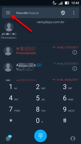 icone três traços Truecaller app Android
