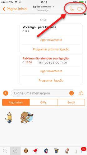 ícones de chamada de voz e vídeo no Messenger