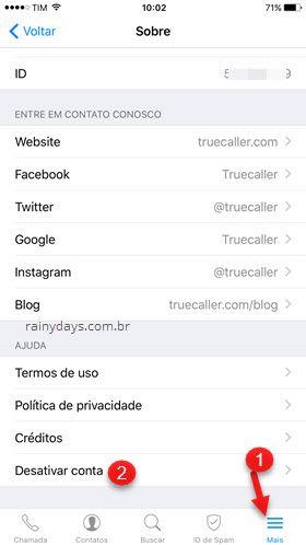 Mais Desativar conta app Truecaller iphone