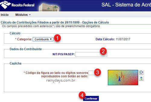 preencher GPS online sistema acrescimos legais INSS