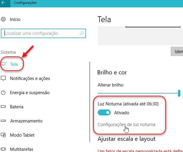 Tela configurações Luz Noturna Windows 10