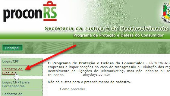 cadastro de bloqueio telemarketing Procon-SP