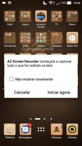 Gravar tela do ANdroid iniciar gravação AZ