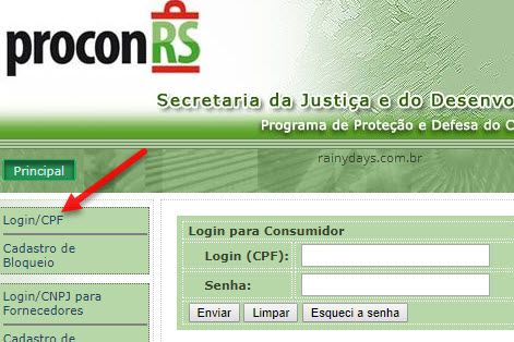 Login no Procon bloqueio telemarketing RS