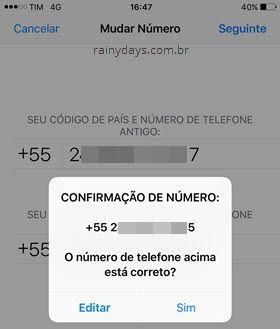 Modificar número de telefone no WhatsApp