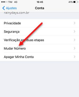 mudar número app WhatsApp iPhone