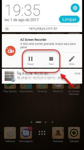 Pausar ou parar gravação AZ Gravador de Tela Android