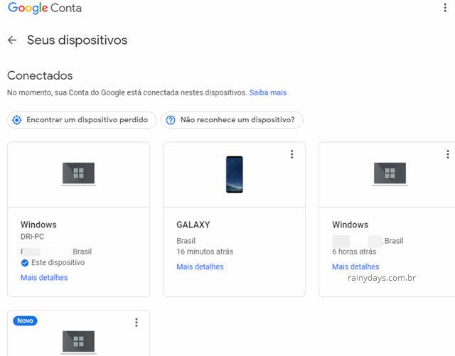 Seus dispositivos conectados desconectados da conta Google