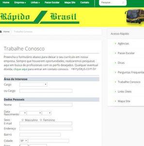 Como trabalhar na Viação Rápido Brasil (Trabalhe conosco)