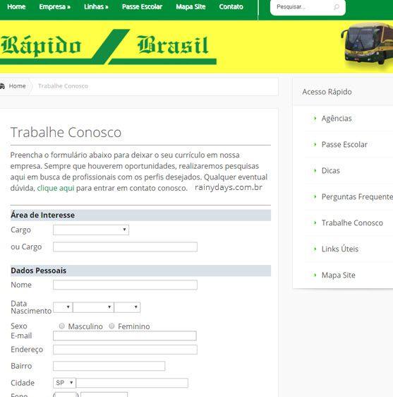 Como trabalhar na Viação Rápido Brasil