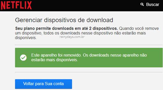 Aparelho removido Gerenciar dispositivos de download Netflix