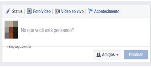 Campo publicação de post no Facebook