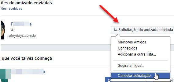 Cancelar solicitação de amizade no Facebook