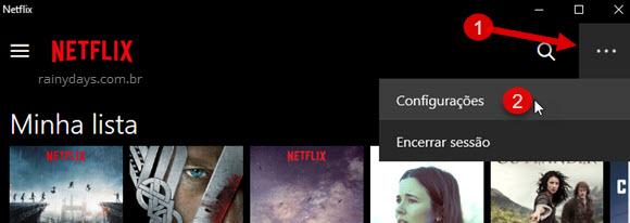 Configurações aplicativo Netflix Windows