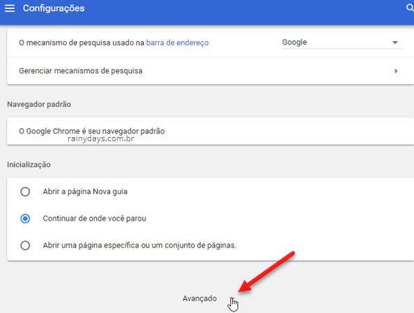 Configurações Avançado Chrome