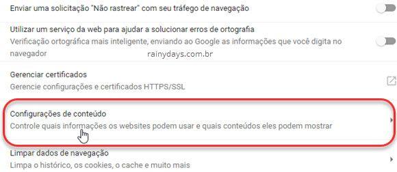 Configurações de conteúdo Chrome
