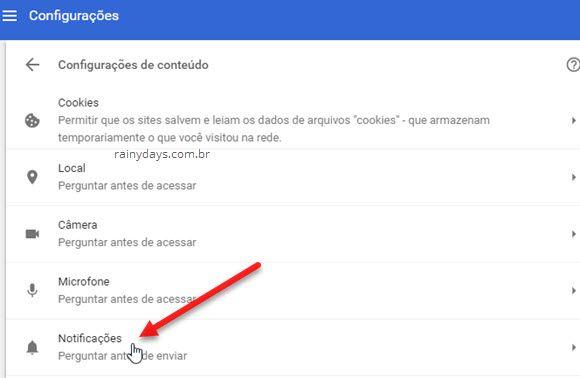 Configurações de conteúdo Notificações Chrome