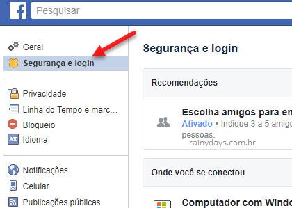 Configurações Segurança e Login Facebook