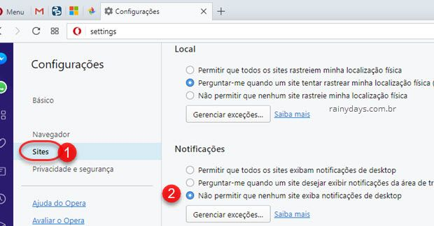 Desativar notificações de sites no Opera