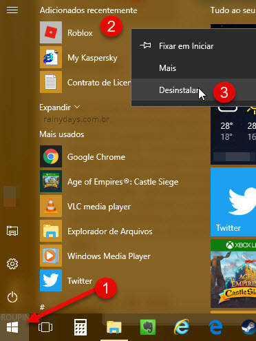 Desinstalar aplicativo Roblox Windows 10