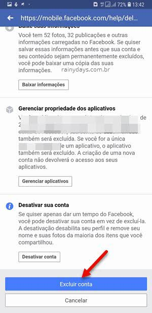 Excluir conta do Facebook pelo celular permanentemente