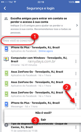 Sair do Messenger pelo app do Facebook iOS
