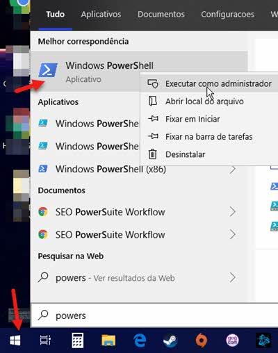 Abrir Windows PowerShell como administrador pelo menu iniciar