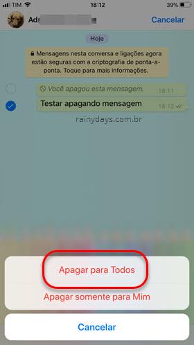 apagar para todos mensagem no WhatsApp iPhone