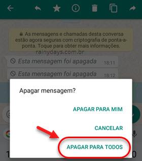 Apagar para todos mensagem no WhatsApp