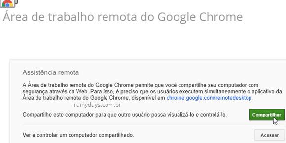 assistência remota Chrome Remote Desktop