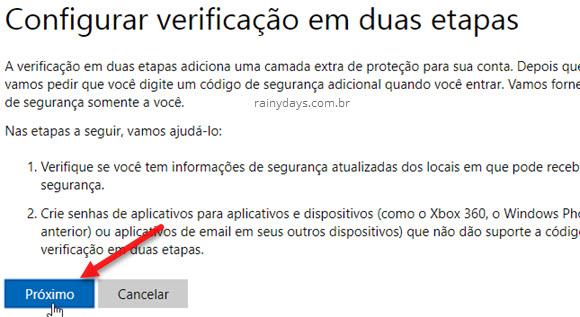 ativar verificação em duas etapas da conta Microsoft