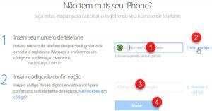 Cancelar registro do iMessage se não for usar mais iOS