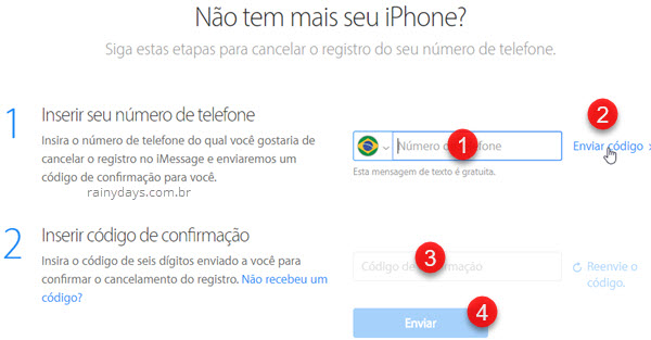 Cancelar registro do iMessage se não for usar mais iOS
