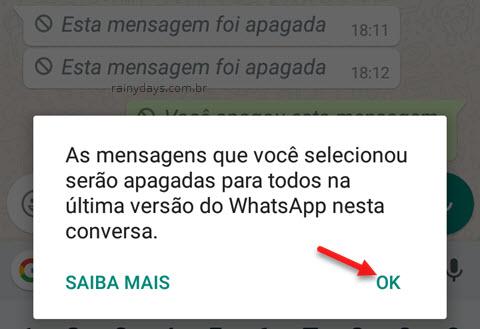 Como apagar mensagem enviada no WhatsApp no Android e iPhone