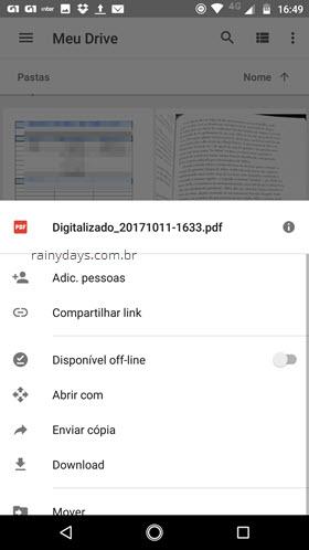 compartilhar mover abrir enviar documento app Google Drive