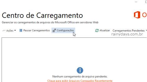 configurações do Centro de Carregamento Office