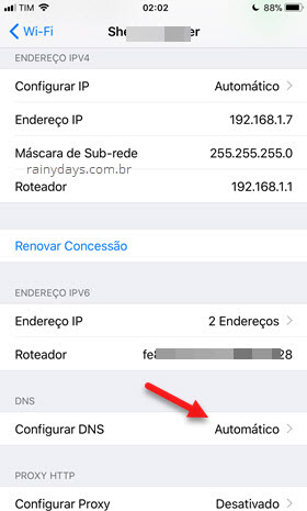 Configurar DNS no WiFi do iPhone