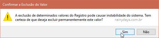 Confirmar exclusão de valor no Registro do Windows