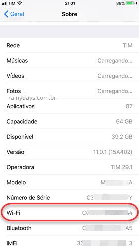 Como descobrir MAC Address do iPhone