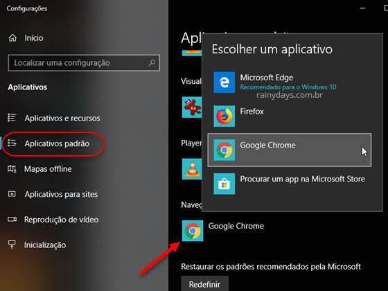 Escolher um aplicativo navegador da web padrão Windows 10