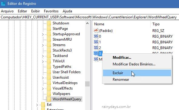 Excluir valor dentro wordwheelquery registro Windows